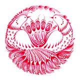 Decorative circle birds of paradise Stock Image