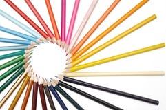 Decorative circle by color pencils Royalty Free Stock Photos