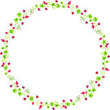 Decorative circle frame with branches and ladybirds Royalty Free Stock Photography
