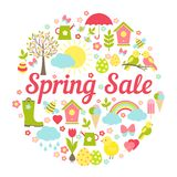 Decorative circular Spring Sale Sign Stock Photos