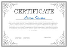 Decorative clasic certificate template. Design Royalty Free Stock Image