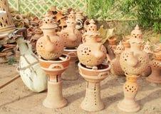 Decorative clay tea pots Stock Photos