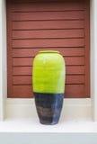 Decorative clay vases. Large green vase Resort Bangsaen Thailand Stock Photos