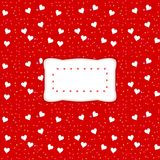 Decorative clear etiquette on red background with white hearts Stock Photos