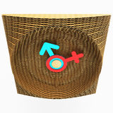 Decorative clock made of cardboard. Symbols of a woman and a man. Art design. 3D illustration. Stock Photography