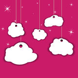 Decorative clouds. On a pink background. On the ropes Royalty Free Stock Images