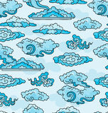 Decorative clouds. Seamless background. Stock Photo