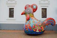 Decorative cock in Ukrainian ornament Stock Photos