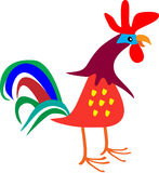 Decorative  Rooster. Decorative cartoon cockerel/rooster made up of colorful simple shapes Royalty Free Stock Image