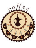 Decorative coffee pot and cups. Decorative coffee pot and cups ,round background Stock Photography