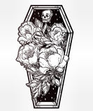 Decorative coffin in flash tattoo style. Royalty Free Stock Photo