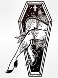 Decorative coffin in flash tattoo style. Royalty Free Stock Photography
