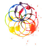 Decorative color circle splash watercolor and Royalty Free Stock Image