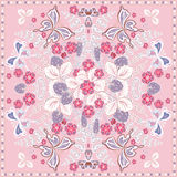 Decorative color floral background, strawberry and butterfly pattern  ornate lace frame. Bandanna shawl fabric print. Decorative color floral background Royalty Free Stock Images