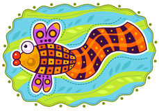 Decorative colored fish. Colored fish with a large checkered tail water on the decorative background Stock Photo
