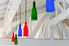 Decorative colored lanterns under a white wooden ceiling beach b Royalty Free Stock Image