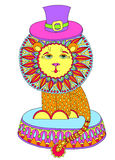Decorative colored line art drawing of circus Royalty Free Stock Photography