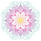 Decorative colored mandala in peach and green colors. Drawing lines. Plant motifs stock illustration