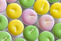 Decorative Colored Tea Candles, Various Colors, Top View. Decorative Colored Tea Candles, Various Colors, Top View Stock Photography