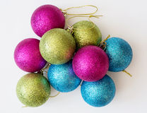 Decorative colorful christmas balls Royalty Free Stock Images