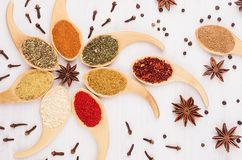 Decorative colorful christmas ornament of multicolored asian spices and anise star, clove on white wooden background. Royalty Free Stock Photography