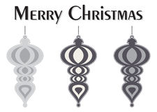 Decorative Colorful Christmas Tree Ornaments. Merry Christmas message. A Set of Decorative Black and White Christmas Tree Ornaments Stock Image