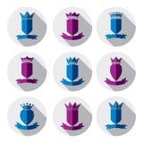 Decorative colorful coat of arms, protection theme symbols. Hera Royalty Free Stock Photo
