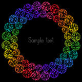 Decorative Colorful Element Circular Frame for Text on Black Bac Stock Image