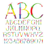 Decorative colorful and festive floral vector font. Decorative capital letters and numbers colorful and festive floral vector font Royalty Free Stock Images