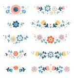 Decorative colorful floral compositions. Decorative floral compositions collection set Stock Photo