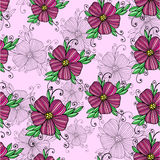 Decorative colorful  flower seamless pink illustrations pattern Royalty Free Stock Image