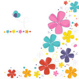 Decorative colorful flowers with butterfly greeting card Stock Image