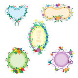 Decorative colorful frames. Colorful decorative vector frames for photo, picture or message with flowers, birds and butterflies Stock Photos