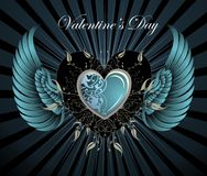 Decorative colorful heart with wings Stock Images
