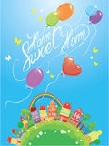 Decorative colorful houses, trees, rainbow and ballons Stock Photos