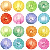 Decorative colorful paper lanterns on white background royalty free stock photo