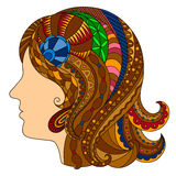 Decorative  colorful silhouette of a girl in the style of zentan Stock Images