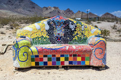 Decorative Colorful Sofa in the Ghost City of Rhyolite in Goldwe Stock Photography