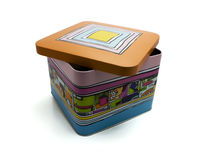 Decorative colorful tin box Stock Photo
