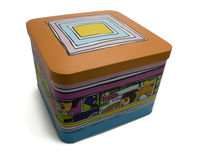 Decorative colorful tin box Stock Photos