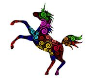 Decorative colorful unicorn 2. Decorative silhouette of a unicorn with a multicolored spiral ornament vector illustration Royalty Free Stock Images