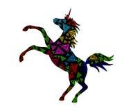 Decorative colorful unicorn 3. Decorative silhouette of a unicorn with a multicolored spiral ornament vector illustration Stock Images
