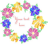Decorative colorful vector flower illustrations text frame Royalty Free Stock Photo