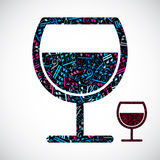 Decorative colorful vector half full wineglass filled with music Royalty Free Stock Images