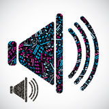 Decorative colorful vector megaphone filled with musical notes i Royalty Free Stock Image