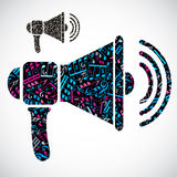 Decorative colorful vector megaphone symbol filled with musical Royalty Free Stock Photography