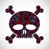 Decorative colorful vector skull filled with musical notes, keep Royalty Free Stock Photos