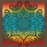 Decorative colorful vintage ornament florid tile. Decorative colorful florid tile with colorful vintage ornament design for creative needs Royalty Free Stock Photo