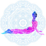 Decorative colorful yoga pose over ornate round mandala pattern. Yoga concept. Decorative design for cover, t-shirt, hippie poster, flyer Stock Image