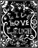 Decorative Coloring poster live love  chalk on blackboard Royalty Free Stock Images